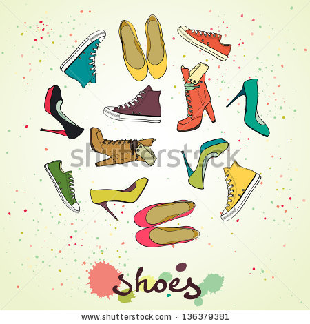 stock-vector-set-of-different-shoes-in-circle-round-shape-made-of-high-heel-shoes-boots-flat-shoes-and-136379381