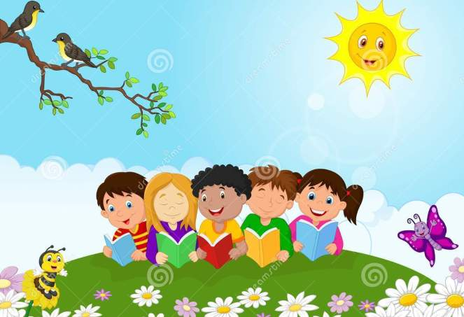 happy-children-cartoon-sitting-grass-reading-books-illustration-50763617