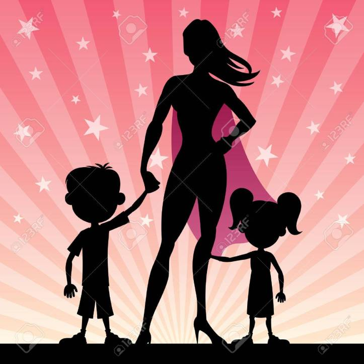 34447676-super-mom-with-her-kids-no-transparency-used-basic-linear-gradients-